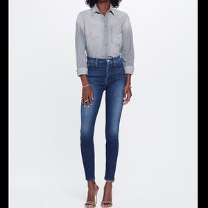 Mother stunner high rise button fly skinny jeans